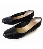 サルヴァトーレフェラガモ Salvatore Ferragamo パンプス ウエッジパンプス リザード 型押し 本革 レザー 5.5 C 黒 ブラック 22.5cm くつ 靴 シューズ