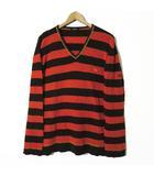 ニット パイル ボーダー ロゴ ホース 刺繍 Vネック ステッチ 長袖 3 L ブラウン オレンジ 国内正規品