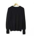 ニット セーター ケーブル編み 切り替え コットン Vネック 長袖 XL 40 黒 ブラック 大きいサイズ