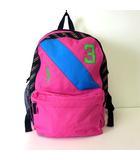 リュックサック デイパック ビッグ ポニー ナンバー 刺繍 チェック 切り替え コーティング キャンバス ピンク 水色 黄緑 かばん 鞄 カバン