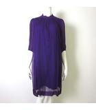 ワンピース チュニック シルク 絹 100% ベルト付 シフォン プリーツ フレア 7分袖 38 M 紫 パープル