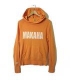 パーカー スウェット プルオーバー フード TMT MAKAHA EAST ロゴ プリント S 長袖 オレンジ 白