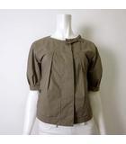 シャツ ジャケット ブラウス 半袖 リボン ロゴ プレート S カーキ 国内正規品