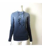 カットソー シャツ ブラウス 長袖 ギャザー フリル ロゴ 刺繍 グラデーション S-M ブルーグレー 水色 紺 ネイビー 国内正規品