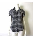 シャツ ブラウス 半袖 ノバチェック ロゴ 刺繍 フリル ギャザー M 38 グレー 黒 ブラック 白 ホワイト 国内正規品