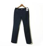 デニムパンツ ジーンズ ロゴ 異素材 切り替え 裾ファスナー L 40 紺 ネイビー タグ付 美品
