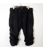 ヴィリジアン The Viridi-anne パンツ クロップドパンツ 麻 リネン シャーリング M 2 チャコールブラック 灰黒