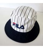 フィラ FILA ハット バケットハット 帽子 ぼうし ロゴ 刺繍 ストライプ柄 コットン 58cm 白 ホワイト 紺 ネイビー 国内正規品