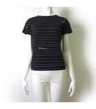 マックスマーラ MAX MARA カットソー Tシャツ ロゴ ボーダー ストレッチ 半袖 L 黒 ブラック 白 ホワイト イタリア製