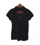 パーリーゲイツ PEARLY GATES ポロシャツ 半袖 リボン ロゴ 刺繍 コットン 鹿の子 ゴルフ サイズ0 XS-S 黒 ブラック 赤 国内正規品