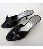 サルヴァトーレフェラガモ Salvatore Ferragamo ミュール サンダル 本革 レザー トグル メタルボタン 5 C 黒 ブラック シルバー 22.0cm くつ 靴 シューズ 小さいサイズ