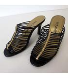 イヴサンローラン YVES SAINT LAURENT サンダル ミュール ヒールサンダル レザー 34.5 黒 ブラック ゴールド 21.5cm 国内正規品 小さいサイズ くつ 靴 シューズ