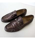 グッチ GUCCI ローファー ビットローファー 本革 レザー 38.5 ブロンズカラー 24.0cm くつ 靴 シューズ