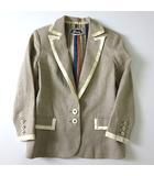 カオン Kaon ジャケット テーラード リネン シルク パイピング 裏ストライプ 2B 7分袖 S ベージュ オフ白