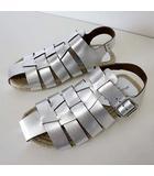 アルフレッドバニスター alfredoBANNISTER サンダル グラディエーターサンダル エスパドリーユ 本革 レザー イタリア製 40 シルバー シャイニー 25.5cm くつ 靴 シューズ
