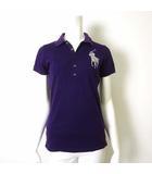 ポロシャツ 半袖 スリムフィット ビッグポニー ビーズ 刺繍 L パープル 紫 国内正規品