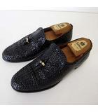 マレリー Marelli シューズ ビジネスシューズ ローファー 本革 メッシュ レザー タッセル 25.5cm 黒 ブラック くつ 靴 紳士
