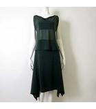 イッセイミヤケ ISSEY MIYAKE セットアップ 上下 スカートスーツ ドレス M-L グリーン 緑 ノースリーブ シフォン カットソー ロングスカート