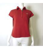 ダックス DAKS GOLF ゴルフ ポロシャツ 半袖 ロゴ 刺繍 ハウス チェック 切り替え スナップ ボタン コットン L 赤 ゴルフウェア 国内正規品