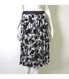 スカート フレア プリーツ 花柄 シフォン シアー 36 S 黒 ブラック 白 ホワイト 美品