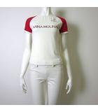 JEANS カットソー Tシャツ 半袖 ロゴ ラインストーン ストレッチ 配色 42 M 白 ホワイト 赤 イタリア製 国内正規品