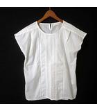 カットソー フレンチ 半袖 シフォン シアー ピンタック レース 刺繍 コットン M 白 ホワイト 美品