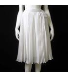 スカート シフォン シアー プリーツ フレア 揺れ感 シャドー ボーダー 40 L 白 ホワイト タグ付 美品