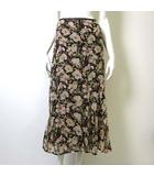 スカート ロング マキシ シルク 絹 100% 花柄 シフォン フレア 7 S 茶 ブラウン