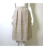 スカート フレア ボーダー シフォン タック 裾フリンジ 9 M ベージュ