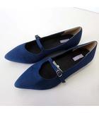 EXE BISGINA パンプス フラットシューズ アーモンドトゥ 24.5 紺 ネイビー くつ 靴 シューズ