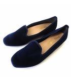 グランドフルール grandfleur シューズ フラットシューズ オペラシューズ ベロア 22.5 紺 ネイビー くつ 靴