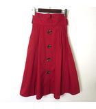 スカート ロング ハイウエスト フレア Aライン 飾り ボタン タック ギャザー コットン M 赤 レッド