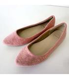 makana バレエシューズ フラットシューズ ラインストーン 装飾 S 22.5cm ピンク 杢 くつ 靴 シューズ