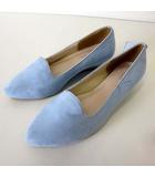 EXE BISGINA パンプス スリッポン オペラシューズ スエード調 M 23.5cm サックスブルー 水色 くつ 靴 シューズ