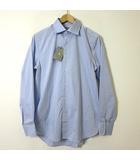 ナノユニバース nano universe シャツ ドレスシャツ 長袖 weba スイス製 2019SS ブロード ワイドカラー コットン M-L 40 水色 タグ付 美品