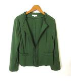 ヴィヴァプレスト VIVA PRESTO ジャケット サマー ノーカラー リネン 麻 フリル ストレッチ 長袖 L 緑 グリーン
