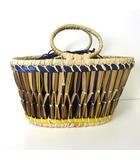 エルサック EleSac バッグ かごバッグ バスケット BELLOWS BASKET ベージュ 紺 かばん 鞄 カバン 美品 ナノユニバース購入