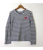 プレイコムデギャルソン PLAY COMME des GARCONS カットソー Tシャツ 長袖 ハート ロゴ ボーダー S 紺 ネイビー 白 ホワイト