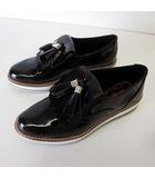 ザラウーマン ZARA WOMAN シューズ フリンジタッセル くつ 靴 エナメル レザー 37 黒 ブラック 23.5cm