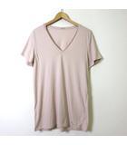Tシャツ カットソー 半袖 ロゴ Vネック L くすみ ピンク