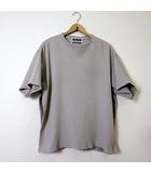 Tシャツ カットソー 半袖 変形 サイドスリット オーバーサイズ 畔編み L 3 アイスグレー 日本製