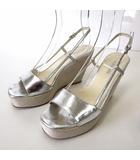 ジルサンダー JIL SANDER サンダル ウエッジサンダル 厚底 レザー バックストラップ 36 シルバー シャイニー 23.0cm くつ 靴 シューズ