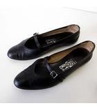 サルヴァトーレフェラガモ Salvatore Ferragamo フラットシューズ くつ 靴 シューズ クロコ 型押し レザー 6 C 黒 ブラック 23.0cm