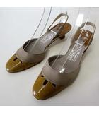 サルヴァトーレフェラガモ Salvatore Ferragamo ミュール サンダル バックスベルト エナメル レザー 6.5 C グレー ブラウン 23.5cm くつ 靴 シューズ