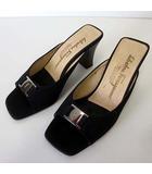 サルヴァトーレフェラガモ Salvatore Ferragamo ミュール サンダル ヒールサンダル ヴァラ ナイロンキャンバス 5.5 D 黒 ブラック 22.5cm くつ 靴 シューズ