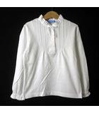 ファミリア Familiar カットソー シャツ プルオーバー パフ 長袖 レース リボン ハーフ ボタン ピンタック フリル コットン 130 白 ホワイト 女の子 美品