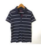 アーノルドパーマー Arnold Palmer CLASSIC STYLE ポロシャツ 半袖 ボーダー ロゴ 刺繍 コットン ストレッチ L 紺 ネイビー 白 ホワイト