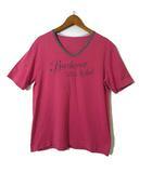 Tシャツ カットソー ロゴ プリント 半袖 Vネック ヴィンテージ加工 コットン M 赤 グレー 国内正規品