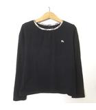 バーバリー ロンドン BURBERRY LONDON カットソー Tシャツ ロンT 長袖 ホース ロゴ 刺繍 ノバチェック コットン 130 黒 ブラック 女の子 男の子 国内正規品 美品