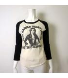 ヒステリックグラマー HYSTERIC GLAMOUR Tシャツ カットソー 7分袖 ラグランスリーブ スージー クアトロ ガールプリント F 黒 ブラック アイボリー YOUR MAMMA WON'T LIKE ME
